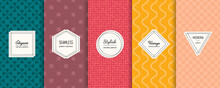 Abstract Vector Geometric Seamless Patterns Collection. Set Of Simple Colorful Background Swatches With Elegant Minimal Labels. Modern Textures. Trendy Pastel Color, Yellow, Red, Brown, Green, Powdery