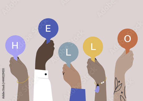 Canvas Print A diverse group of people holding a hello sign, an international community of fr