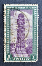 Cancelled Postage Stamp Printed By India, That Shows Victory Tower, Chittorgarh, Circa 1975.