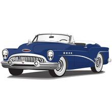 1950's Blue Vintage Classic Car Illustration