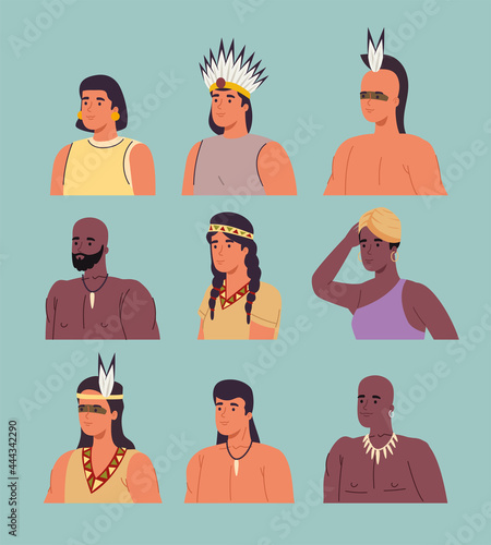 Canvas Print nine aborigines characters