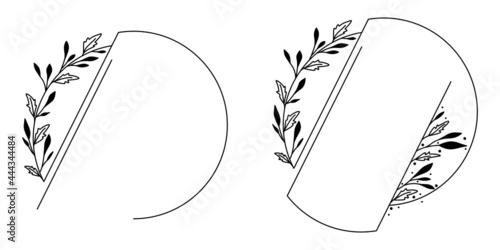 Okrągłe ramki z wzorem roślinnym w prostym minimalistycznym stylu. Eleganckie szablony z listkami - zaproszenia ślubne, życzenia, planer, tło dla social media stories.