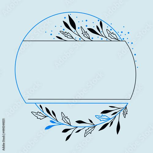 Dekoracyjna ramka z niebieskimi akcentami - liście i gałązki w prostym stylu do wykorzystania na karty, voucher, życzenia i zaproszenia ślubne.