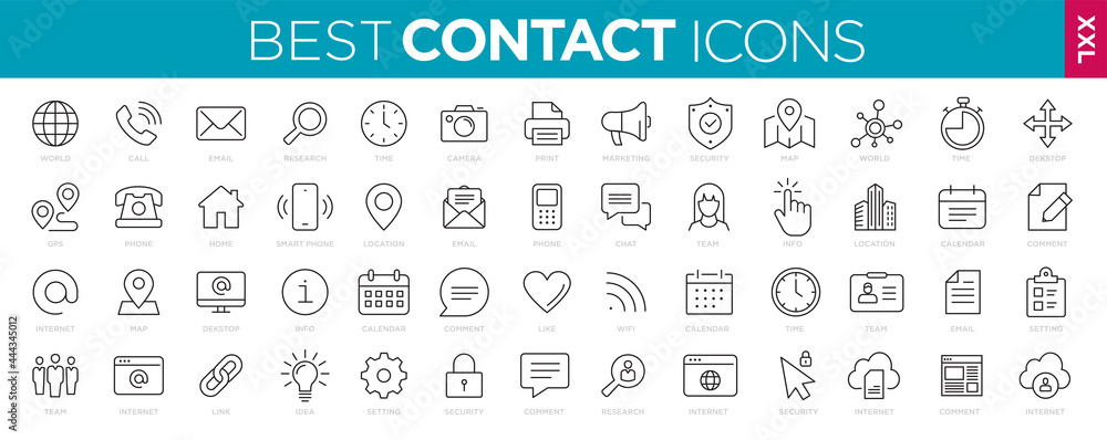 Obraz Collection Contact icons line Web and mobile icon. Chat, support, message, phone. Vector illustration fototapeta, plakat