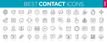 Collection Contact Icons Line Web And Mobile Icon. Chat, Support, Message, Phone. Vector Illustration