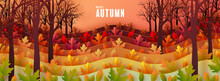 Autumn Holiday Seasonal Background With Colorful Autumn Leaves, Mushrooms, Owls, Golden Pods, Squirrels, And Elements Paper Cut Craft Style On Color Background.