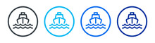 Speed Boat Icon Set. Sea Transportation Vector Illustration. Ferry Cruise Sailing On Ocean Concept.
