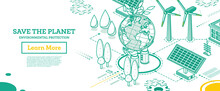 Save The Planet. Hands Hold Model Of Globe. Isometric Concept. Environmental Protection.