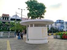 Kota Tua, Jakarta, Indonesia - (06-10-2021) : Security Guard Post In The Old City Tourist Area