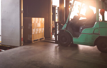 Forklift Tractor Loading Package Boxes into Cargo Container at Dock Warehouse. Delivery Service. Shipping Warehouse Logistics. Cargo Shipment. Freight Truck Transportation.