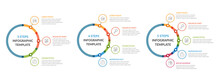 Three Infographic Templates - 3, 4 And 5 Steps, Diagrams With Icons And Text
