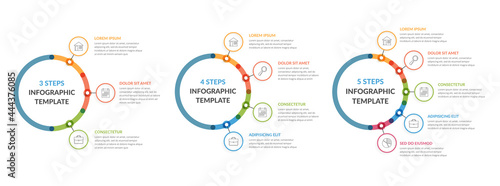 Canvas Three infographic templates - 3, 4 and 5 steps, diagrams with icons and text