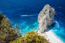 Mizithres Cliff Rock In Zakynthos Ionian Island, Greece