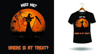 Halloween T Shirt Ready Design. Printable Halloween Design For T Shirt. Vector Design Of Pumpkin, Witch, Grave, Moon And Scary Night.  Scary Easy Printable T Shirt Design For Men. Women And Child.