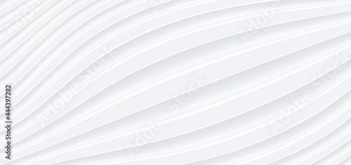 Fotografering 3D white wavy background for business presentation