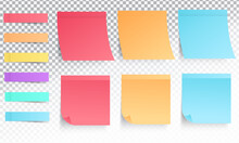 Collection Of Different Colored Sticky Notes With Shadow