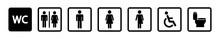Toilet Icon Set. Restroom WC Sign Isolated. Men And Women Vector Symbols On White Background. Vector Eps10.