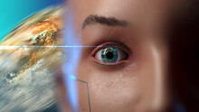Close-up Human Face With The Reflection Of The Globe In The Iris Of The Eye. Stylization Of Illustrations On The Theme Of Space And Man