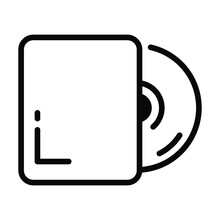 Compact Disc Vector Line Icon-  Modern Style High Quality Vector Illustration.