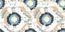 Vector Dye Effect Seamless. Ethnic Pattern. Floral Bohemian Pattern. Grey Boho Prints. Abstract Bohemian Tile. Beige Tie Dye Batik. Watercolor Texture. Bleach Dye.