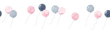 Horizontal Frame With Cute Balloons. Pink, Gray And Black Balloons. Watercolor Illustration. Cute Border.
