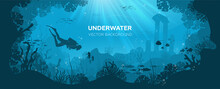Underwater Background With Various Sea Views. Underwater Scene. Cute Sea Fishes Ocean Underwater Animals. Undersea Bottom With Corals Seaweeds Kids Cartoon Vector Concept