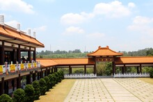 Zu Lai Buddhist Temple - View From The Top Of The Stairs Towards The Welcome Portal.