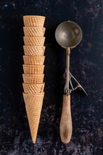 Ice Cream Scoop With Ice Cream Cones
