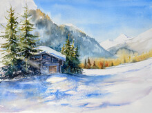 Winter Landscape With Wooden House In Snowy Mountains. Watercolors Painting.