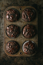 Chocolate Muffins In Vintage Pan