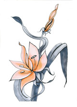 Sketch Of An Orange Stylized Lily