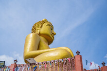 Golden Big Buddha On Phu Chang Noi  At Chiang Khan Loei Thailad.Chiang Khan Is An Old Town And A Very Popular Destination For Thai Tourists