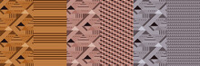 Fabric Seamless Pattern Set In Mid-century Modern
