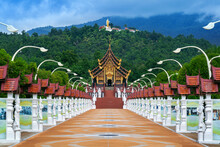 Ho Kham Luang Northern Thai Style In Royal Flora Ratchaphruek In Chiang Mai,Thailand.