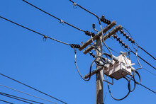 Power Utility Pole With Transformers