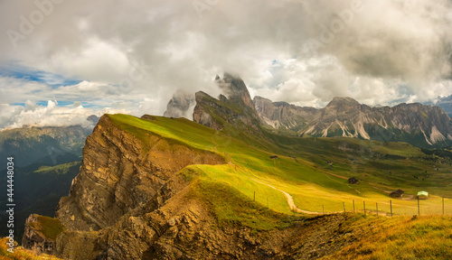 Canvas Print Amazing view Dolomites mountains from Seceda over Odle Puez