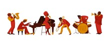 Musicians. Cartoon People With Musical Instruments Playing Melody And Performing On Stage. Happy Jazz Band Players Set. Cello And Violin African Performers. Vector Saxophonist Or Drummer