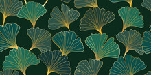 Seamless Pattern Of Hand Draw Illustrations Floral Outline Golden Ginkgo Biloba Leaves On Black Background. For Wall Decoration, Postcard Or Brochure Cover Design