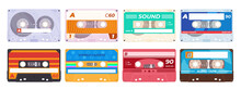 Collection Of Vintage Audio Cassette Tape Vector Illustration Old Music Retro Player Blank