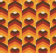 Vector Seamless Trendy Texture In Retro 70s Wallpaper Style. Modern Pattern