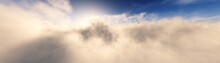 Clouds, Beautiful Landscape Of Clouds, Sunrise Among The Clouds, 3D Rendering