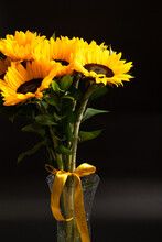 Bouquet Of Bright Sunflowers Against Black Background