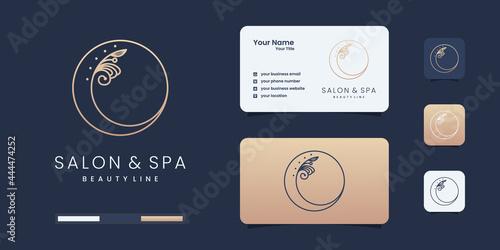 Fototapeta Feminine beauty salon and spa line art circle shape logo with leaf minimalist