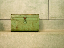 Vintage, Closed Metallic Chest, Travel Trunk. Green Colour.