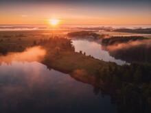 Aerial Drone View Of Nature Landscape. Colorful Sunrise In Romantsevskiye Gory, Konduki In Morning. Tula Oblast, Russia. Popular Weekend Destination
