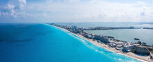 Aerial Panoramic Photos Of Luxury Hotels And Resorts Surrounding Beaches And Clear Blue Turquoise Sea Water