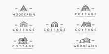 Set Of Cottage Line Art Minimalist Logo Vector Illustration Design