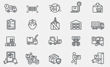 Lineo Editable Stroke - Logistics And Shipping Line Icons Stock Illustration , Icon, Freight Transportation, Distribution Warehouse, Delivering Stock Illustration France, Thailand, Direction