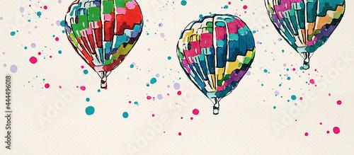 Obraz na plátně Hot Air Balloons. Watercolor design element