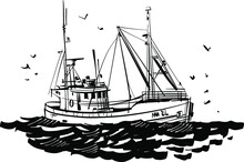 The Vector Illustration Of The Fishing Boat In The Sea